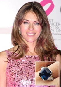 Elizabeth Hurley in Blue Sapphire Ring